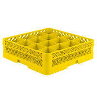 Vollrath TR8A Traex Full-Size Yellow 16-Compartment 4 13/16 inch Glass Rack with Open Rack Extender On Top