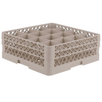 Vollrath TR8DD Traex® Full-Size Beige 16-Compartment 6 3/8 inch Glass Rack