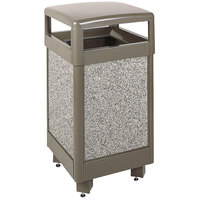 Rubbermaid R36HT Aspen Hinged-Top Architectural Bronze with Glacier Gray Stone Panels Square Steel Waste Receptacle with Rigid Plastic Liner 29 Gallon (FGR36HT6000PL)