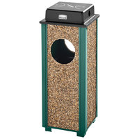 Rubbermaid FGR41WU202PL Aspen Ash/Trash Empire Green with Desert Brown Stone Panels Square Steel Waste Receptacle with Weather Shield and Rigid Plastic Liner 2.5 Gallon