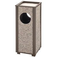 Rubbermaid FGR416000PL Aspen Ash/Trash Architectural Bronze with Glacier Gray Stone Panels Square Steel Waste Receptacle with Rigid Plastic Liner 2.5 Gallon