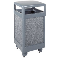 Rubbermaid FGR36HT2000PL Aspen Hinged-Top Gray with Dove Gray Stone Panels Square Steel Waste Receptacle 29 Gallon with Rigid Plastic Liner