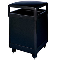 Rubbermaid FGR48HTSBKPL Dimension Standard Series Hinged-Top Black Solid Panels Square Steel Waste Receptacle with Rigid Plastic Liner 48 Gallon