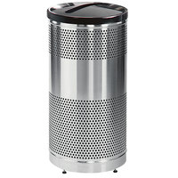Rubbermaid FGS3SSPBKPL Classics Round Steel Paper Recycling Container with Black Lid and Rigid Plastic Liner 25 Gallon