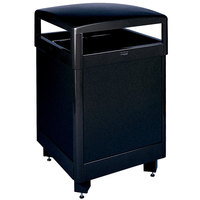 Rubbermaid FGR38HTSBKPL Dimension Standard Series Hinged-Top Black Solid Panels Square Steel Waste Receptacle with Rigid Plastic Liner 38 Gallon