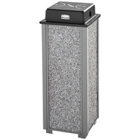 Rubbermaid FGR40WU2000 Aspen Gray with Dove Gray Stone Panels Square Steel Cigarette Receptacle with Weather Shield