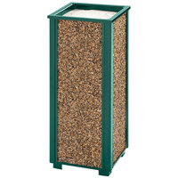 Rubbermaid FGR40202 Aspen Empire Green with Desert Brown Stone Panels Square Steel Cigarette Urn