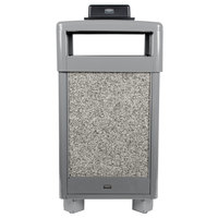 Rubbermaid FGR36HTWU2000PL Aspen Hinged-Top Gray with Dove Gray Stone Panels Square Steel Waste Receptacle with Weather Urn and Rigid Plastic Liner 29 Gallon
