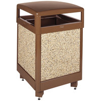 Rubbermaid R48HT Aspen Hinged-Top Brown with Desert Brown Stone Panels Square Steel Waste Receptacle with Rigid Plastic Liner 48 Gallon (FGR48HT201PL)