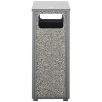 Rubbermaid FGR122000PL Aspen Flat-Top Gray with Dove Gray Stone Panels Square Steel Waste Receptacle with Rigid Plastic Liner 12 Gallons