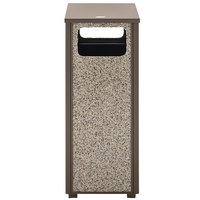 Rubbermaid FGR126000PL Aspen Flat-Top Architectural Bronze with Glacier Gray Stone Panels Square Steel Waste Receptacle with Rigid Plastic Liner 12 Gallons