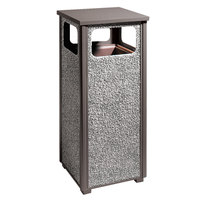 Rubbermaid R12 Aspen Flat-Top Architectural Bronze with Glacier Gray Stone Panels Square Steel Waste Receptacle with Rigid Plastic Liner 12 Gallons (FGR126000PL)