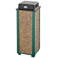 Rubbermaid FGR40WU202 Aspen Empire Green with Desert Brown Stone Panels Square Steel Cigarette Urn with Weather Shield