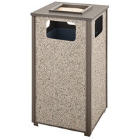 Rubbermaid FGR18SU6000PL Aspen Ash/Trash Architectural Bronze with Glacier Gray Stone Panels Square Steel Waste Receptacle with Rigid Plastic Liner 24 Gallons