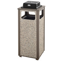 Rubbermaid FGR12WU6000PL Aspen Ash/Trash Architectural Bronze with Glacier Gray Stone Panels Square Steel Waste Receptacle with Weather Urn and Rigid Plastic Liner 12 Gallons