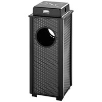 Rubbermaid FGR41WU500PL Dimension 500 Series Black with Anthracite Perforated Steel Panels Square Steel Ash/Trash Receptacle with Weather Shield and Rigid Plastic Liner 2.5 Gallon