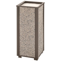 Rubbermaid FGR406000 Aspen Architectural Bronze with Glacier Gray Stone Panels Square Steel Cigarette Urn