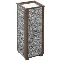 Rubbermaid R40 Aspen Architectural Bronze with Glacier Gray Stone Panels Square Steel Cigarette Urn (FGR406000)
