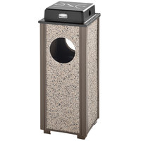 Rubbermaid FGR41WU6000PL Aspen Ash/Trash Architectural Bronze with Glacier Gray Stone Panels Square Steel Waste Receptacle with Weather Shield and Rigid Plastic Liner 2.5 Gallon