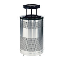 Rubbermaid FGS55SSTWS Classics Round Steel Drop Top Waste Receptacle with Black Lid, Levelers, Weather Shield, and Rigid Plastic Liner 51 Gallon (FGS55SSTWSBKPL)