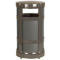 Rubbermaid FGA17ABZPL Architek Radius Top Architectural Bronze Steel Waste Container with Rigid Plastic Liner 17 Gallon