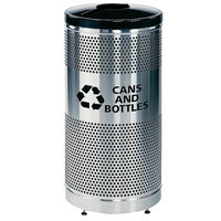 Rubbermaid FGS3SSGBKPL Classics Round Steel Can/Bottle Recycling Container with Black Lid and Rigid Plastic Liner 25 Gallon