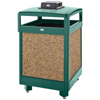 Rubbermaid FGR38HTWU202PL Aspen Hinged-Top Empire Green with Desert Brown Stone Panels Square Steel Waste Receptacle with Weather Urn and Rigid Plastic Liner 38 Gallon