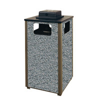 Rubbermaid R18WU Aspen Ash/Trash Architectural Bronze with Glacier Gray Stone Panels Square Steel Waste Receptacle with Weather Urn and Rigid Plastic Liner 24 Gallons (FGR18WU6000PL)