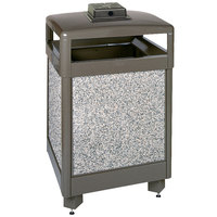 Rubbermaid(FGR48HTWU6000PL Aspen Hinged-Top Architectural Bronze with Glacier Gray Stone Panels Square Steel Waste Receptacle with Weather Urn and Rigid Plastic Liner 48 Gallon