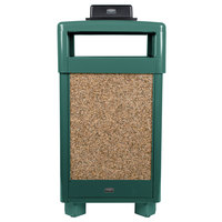 Rubbermaid FGR36HTWU202PL Aspen Hinged-Top Empire Green with Desert Brown Stone Panels Square Steel Waste Receptacle with Weather Urn and Rigid Plastic Liner 29 Gallon