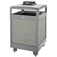 Rubbermaid FGR38HTWU2000PL Aspen Hinged-Top Gray with Dove Gray Stone Panels Square Steel Waste Receptacle with Weather Urn and Rigid Plastic Liner 38 Gallon