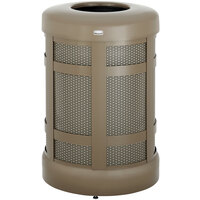 Rubbermaid FGA38TSDABZPL Architek Drop-In Top Architectural Bronze Steel Waste Container with Side Door and Rigid Plastic Liner 38 Gallon