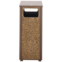 Rubbermaid FGR12201PL Aspen Flat-Top Brown with Desert Brown Stone Panels Square Steel Waste Receptacle with Rigid Plastic Liner 12 Gallons