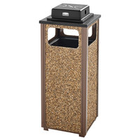 Rubbermaid FGR12WU201PL Aspen Ash/Trash Brown with Desert Brown Stone Panels Square Steel Waste Receptacle with Weather Urn and Rigid Plastic Liner 12 Gallons