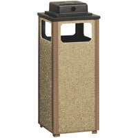 Rubbermaid R12WU Aspen Ash/Trash Brown with Desert Brown Stone Panels Square Steel Waste Receptacle with Weather Urn and Rigid Plastic Liner 12 Gallons (FGR12WU201PL)