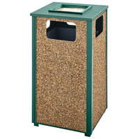 Rubbermaid FGR18SU202PL Aspen Ash/Trash Empire Green with Desert Brown Stone Panels Square Steel Waste Receptacle with Rigid Plastic Liner 24 Gallons