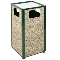 Rubbermaid R18SU Aspen Ash/Trash Empire Green with Desert Brown Stone Panels Square Steel Waste Receptacle with Rigid Plastic Liner 24 Gallons (FGR18SU202PL)
