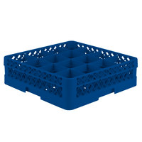 Vollrath TR8D Traex® Full-Size Royal Blue 16-Compartment 4 13/16 inch Glass Rack