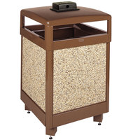 Rubbermaid R48HTWU Aspen Hinged-Top Brown with Desert Brown Stone Panels Square Steel Waste Receptacle with Weather Urn and Rigid Plastic Liner 48 Gallon (FGR48HTWU201PL)