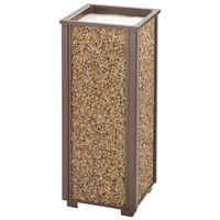 Rubbermaid FGR40201 Aspen Brown with Desert Brown Stone Panels Square Steel Cigarette Urn
