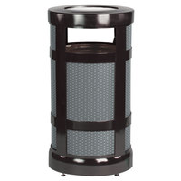 Rubbermaid FGA17SUBKPL Architek Radius Urn Top Black Steel Waste Container with Urn and Rigid Plastic Liner 17 Gallon
