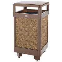 Rubbermaid FGR36HT201PL Aspen Brown with Desert Brown Stone Panels Hinged-Top Square Steel Waste Receptacle with Rigid Plastic Liner 29 Gallon