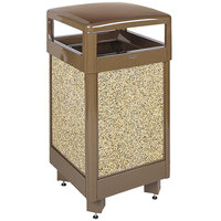 Rubbermaid R36HT Aspen Brown with Desert Brown Stone Panels Hinged-Top Square Steel Waste Receptacle with Rigid Plastic Liner 29 Gallon (FGR36HT201PL)