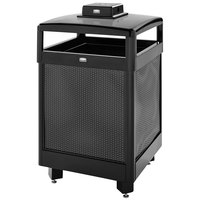 Rubbermaid FGR38HTWU500PL Dimension 500 Series Hinged-Top Black with Anthracite Perforated Steel Panels Square Steel Waste Receptacle with Weather Urn and Rigid Plastic Liner 38 Gallon