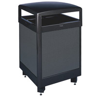 Rubbermaid FGR38HT Dimension 500 Series Hinged-Top Black with Anthracite Perforated Steel Panels Square Steel Waste Receptacle with Rigid Plastic Liner 38 Gallon (FGR38HT500PL)