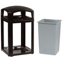Rubbermaid FG397088BLA Landmark Series Classic Container Black Square Polycarbonate Dome Top Frame with Lock Option and FG395800 Rigid Plastic Liner 35 Gallon