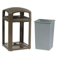 Rubbermaid FG397000SBLE Landmark Series Classic Container Sable Square Polycarbonate Dome Top Frame with FG395800 Rigid Plastic Liner 35 Gallon