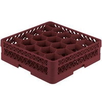 Vollrath TR11A Traex® Rack Max Full-Size Burgundy 20-Compartment 4 13/16 inch Glass Rack with Open Rack Extender On Top
