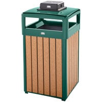 Rubbermaid FGR34HTWU50PLEGN Regent 50 Series Hinged-Top Empire Green Steel and Polyethylene Square Waste Receptacle with Weather Urn and Rigid Plastic Liner 29 Gallon