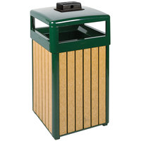 Rubbermaid FGR34HTWU50 Regent 50 Series Hinged-Top Empire Green Steel and Polyethylene Square Waste Receptacle with Weather Urn and Rigid Plastic Liner 29 Gallon (FGR34HTWU50PLEGN)